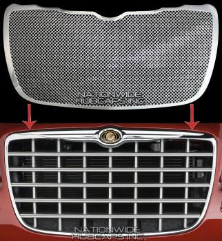 クライスラー グリル 04-10 Chrysler 300 CHROME Snap On Grille Overlay Front Mesh Grill Cover Insert 4月10日クライスラー300 CHROMEスナップオングリルオーバーレイフロントメッシュグリルカバーを挿入