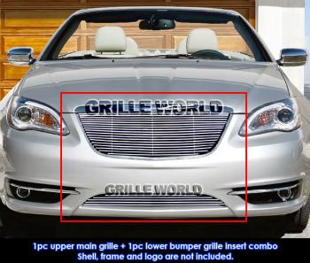 クライスラー グリル Aluminum Billet Grille Combo For 2011-2014 Chrysler 200 2011-2014クライスラー200用アルミビレットグリルコンボ