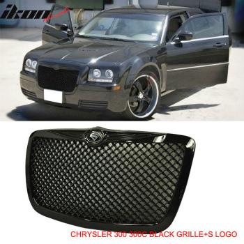 クライスラー グリル 04-10 Chrysler 300 300C Black VIP Mesh Front Hood Grille W/S
