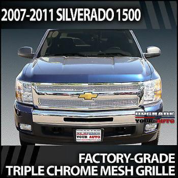シボレー グリル 2007-2012 Chevrolet Silverado 1500 Chrome Mesh Grille Overlay 2007-2012シボレーシルバラード1500クロームメッシュグリルオーバーレイ