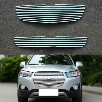 シボレー グリル For Chevrolet Captiva 2012-16 Stainless Steel Grille Grill Insert Upper+Lower シボレーキャプティバ2012から16ステンレス鋼のグリルグリルインサートアッパー+下段のため