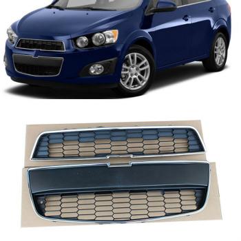 シボレー グリル For Chevrolet Aveo 2010- 2015 Front Bumper Grille Grill Mesh Upper+Lower シボレーアベオ2010- 2015フロントバンパーグリルグリルメッシュアッパー+下段のため