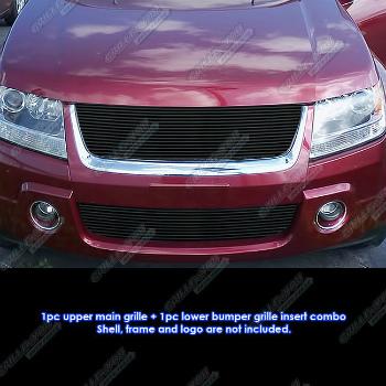 スズキ Vitara グリル Fits 06-2011 Suzuki Grand Vitara Black Billet Grille Combo 06から2011スズキエスクードブラックビレットグリルコンボフィット