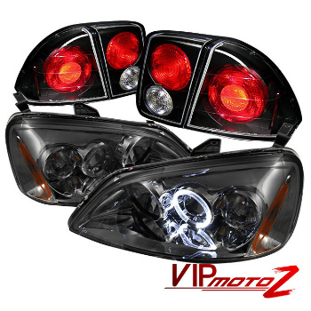 ホンダ シビック テールライト 01-03 Civic 4DR Sedan Smoke Amber Halo Projector Headlight+Altezza Tail Light 01-03シビック4DRセダンスモークアンバーヘイロープロジェクターヘッドライト+アルテッツァテールライト