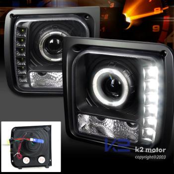 クライスラー Jeep ヘッドライト 1997-2001 Jeep Cherokee Black Projector Headlights Lamps w/SMD LED DRL 1997-2001ジープチェロキーブラックプロジェクターヘッドライトランプSMD LED DRL /ワット