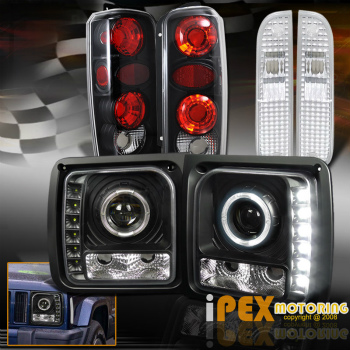 クライスラー Jeep ヘッドライト 1997-2001 Jeep Cherokee Halo Projector LED Black Headlight + Signal + Tail Light 1997-2001ジープチェロキーヘイロープロジェクターLEDブラックヘッドライト+信号+テールライト