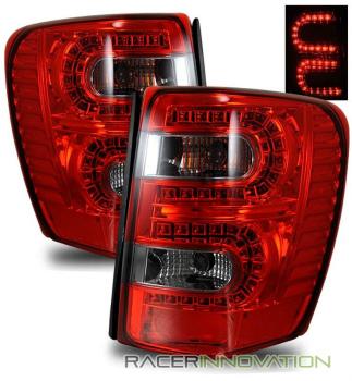 クライスラー Jeep テールライト For 99-04 Jeep Grand Cherokee Euro Red Smoked LED Tail Light Rear Brake Lamps 99から04ジープグランドチェロキーユーロレッドスモークLEDテールライトリアブレーキランプのため