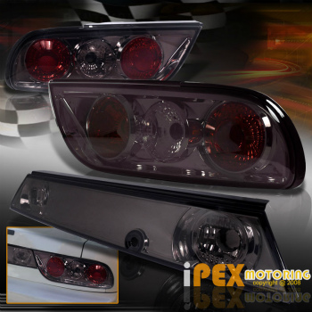 日産 シルビア テールライト For 89-94 240SX S13 Silvia Hatchback Fastback Smoke Tail Lights & Middle Panel 89-94 240SX S13シルビアハッチバックファーストバックスモークテールライト&ミドルパネル用