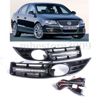 フォルクスワーゲン グリル Pair LED DRL Daytime Running Light Fog Light Cover Grille For VW Passat B6 06-10 ペアLED DRL昼間VWパサートB6 6月10日のためにライトフォグライトカバーグリルを実行します