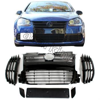 フォルクスワーゲン グリル Front Gille Black Mesh Grill Fit for VW Golf 5 V MK5 R32 Bumper 2006-2008 VWゴルフ5 V MK5 R32バンパー2006年から2008年のためのフロントギレブラックメッシュグリルフィット