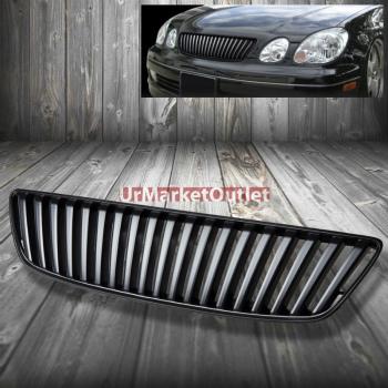 レクサス グリル Front Black Sports Vertical Bumper Abs Grill Grille for Lexus 98-05 GS300 - 430 レクサスGS300 98から05のためのフロントブラックスポーツ垂直バンパー腹筋グリルグリル - 430