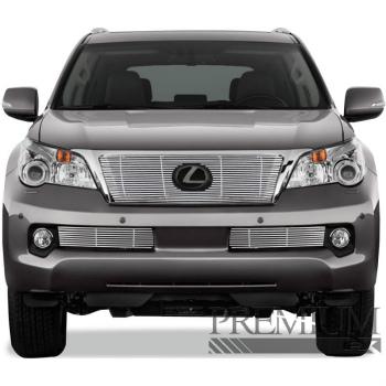 レクサス グリル Premium FX 3pc Chrome Top + Bumper Billet Grille Insert for 2010-13 Lexus GX460 プレミアムFX 3PCクローム2010-13レクサスGX460トップ+バンパービレットグリルインサート