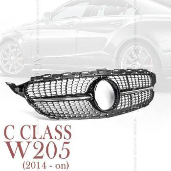 ベンツ グリル MERCEDES BENZ W205 C CLASS SPORT MESH FRONT GRILLE 2014-2016 GLOSS BLACK メルセデス・ベンツW205 Cクラススポーツメッシュフロントグリル2014から2016 GLOSS BLACK