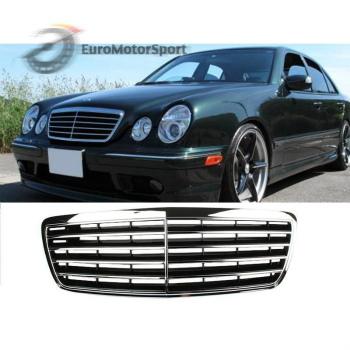 ベンツ グリル * Chrome + Black Front Grille For Mercedes Benz W210 E-Class E300 E320 Facelift メルセデスベンツW210 EクラスE300 E320フェイスリフトについて*クローム+ブラックフロントグリル