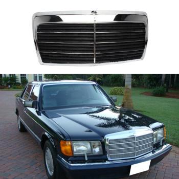 ベンツ グリル For Mercedes-Benz Class SEL/W126 1980-1991Front Hood Black Grill Grille メルセデス・ベンツクラスSEL / W126 1980-1991Frontフッドのためのブラックグリルグリル