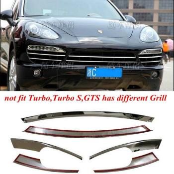 ポルシェ グリル For Porsche Cayenne 2011-2014 Stainless Steal Grill Grille Vent Cover Trim 6pcs ポルシェカイエン2011-2014ステンレスグリルグリルベントカバートリム6本を盗みます