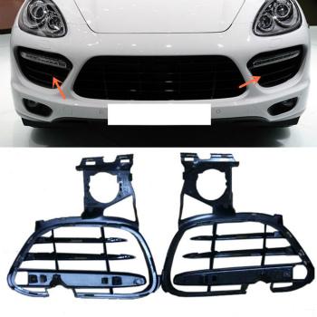 ポルシェ グリル For Porsche Cayenne GTS/TURBO 4.8 2011-2014 2PCS Front Fog Lamp Grill Grille ポルシェカイエンGTS / TURBO 4.8 2011年から2014年2PCSフロントフォグランプグリルグリル