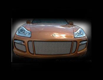 ポルシェ グリル Porsche Cayenne Turbo Mesh Grille Kit Grill 2008-2009 5pcs Black or Chrome ポルシェカイエンターボメッシュグリルキットグリル2008-2009クリニーク黒またはクローム