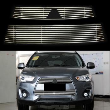 三菱 ASX グリル 2pcs Decorate Stripes Auto Upper+Lower Grill Grille For Mitsubishi ASX 2013-2015 2個三菱ASX 2013年から2015年のために飾るストライプオートアッパー+下部グリルグリル