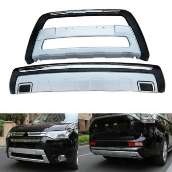 三菱 アウトランダー グリル ABS Chrome Front+Rear Bumper Protector For Mitsubishi Outlander PHEV 2013-2015 三菱アウトランダーPHEV 2013-2015についてはABSクロームフロント+リアバンパープロテクター