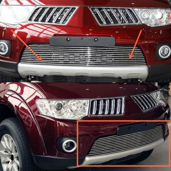 三菱 パジェロ グリル Crossband Stripes Lower Trim Front Grille For Mitsubishi Pajero Sport 2009-2015 三菱パジェロスポーツ2009-2015についてはクロスバンド・ストライプス下部トリムフロントグリル