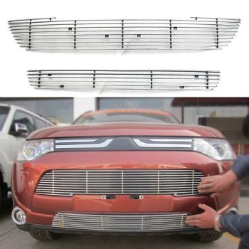 三菱 アウトランダー グリル For Mitsubishi Outlander 2013-2015 Aluminum Front Bumper Grill Decorative Trims 三菱アウトランダー2013-2015アルミバンパーグリル装飾トリムのために