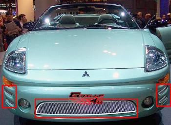 三菱 Eclipse グリル For 03-05 Mitsubishi Eclipse Bumper Stainless Mesh Grille 03から05のための三菱エクリプスバンパーステンレスメッシュグリル