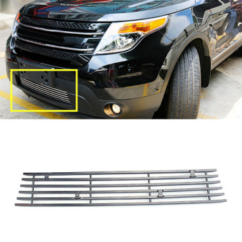 フォード グリル For Ford Explorer 2013-2015 Horizontal stripes front grille lower part trim フォードエクスプローラー2013-2015横縞フロントグリル下部トリムのための