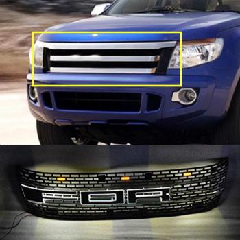 フォード グリル For Ford Ranger T6 2012-2014 Black front grille replace trim With LED B フォードレンジャーT6 2012年から2014年ブラックフロントグリルは、LED Bでトリムを交換するための
