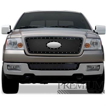 フォード グリル Premium FX Black/Chrome Bumper Woven Mesh Grille Insert for 2004-2005 Ford F-150 プレミアムFXブラック/クロームバンパー2004-2005フォードF-150用織メッシュグリルインサート