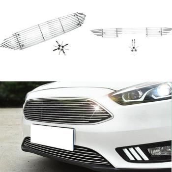 フォード グリル For Ford Focus 2015-2016 Aluminium Alloy Crossband Front Grille 2PCS フォードフォーカス2015-2016アルミ合金のクロスバンドフロントグリル2PCSのため