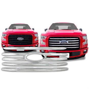フォード グリル Chrome Grille Front Overlay Trim Insert for 2015-2016 Ford F-150 XLT 2015-2016フォードF-150 XLT用クロームグリルフロントオーバーレイトリムインサート