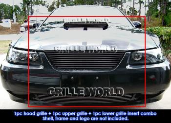 フォード グリル For 1999-2004 Ford Mustang GT V8 Black Billet Grille Grill Combo Insert 1999-2004フォードマスタングGT V8ブラックビレットグリルグリルコンボを挿入するための