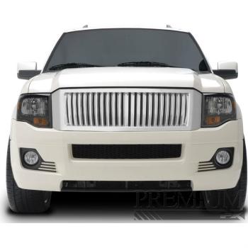 フォード グリル Premium FX Chrome ABS Vertical Replacement Grille for 2007-2012 Ford Expedition 2007-2012フォードエクスペディションのためのプレミアムFXクロームABS垂直の交換グリル
