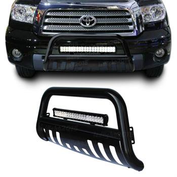 トヨタ タンドラ グリルガード Black Bull Bar Brush Bumper Grille Guard +126W Led Light for Toyota Tundra 07-13 トヨタタンドラ7月13日のためにブラックブルバー、ブラシバンパーグリルガード+ 126W LEDライト