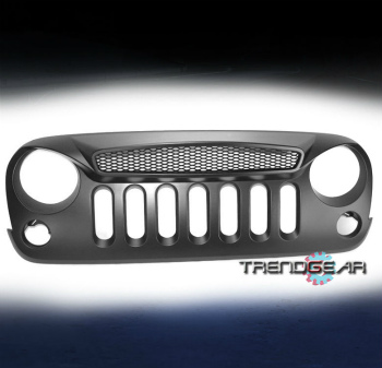 Jeep ジープ グリルガード 2007-2016 JEEP WRANGLER JK SPORT FRONT HOOD MAIN UPPER GRILLE GRILL GUARD BLACK 2007-2016ジープ・ラングラーJK SPORTフロントフードメインアッパーGRILLE GRILL GUARD BLACK