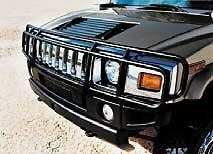 ハマー H2 グリルガード 03-09 HUMMER H2 SUT DOUBLE Hunter Grille Brush Grill Guard in Black ブラックで03から09ハマーH2 SUT DOUBLEハンターグリルブラシグリルガード