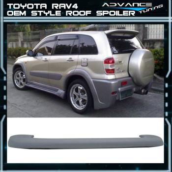 TOYOTA RAV4 スポイラー 01-05 Toyota RAV4 Flush Mount Roof Spoiler OE Factory Style Upainted ABS 01-05トヨタRAV4フラッシュマウントルーフスポイラーOEファクトリースタイルUpainted ABS