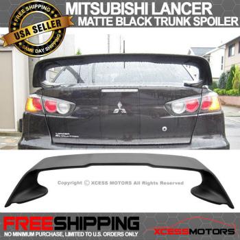 MITSUBISHI LANCER スポイラー Mitsubishi Lancer Evolution Evo10 Matte Black Trunk Spoiler Wing 2008-2015 三菱ランサーエボリューションEvo10マットブラックトランクスポイラーウイング2008から2015