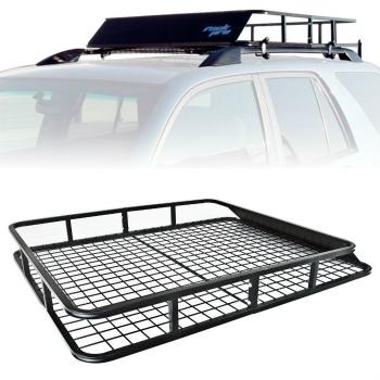 ルーフバスケット Top Basket Universal Roof Rack Cargo Car Luggage Carrier Traveling SUV Wagons トップバスケットユニバーサルルーフ貨物車の荷物キャリアはSUVワゴン旅行ラック