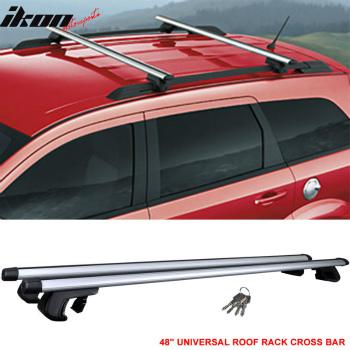 クロスバー Fit For 48 Inch Top Rail Roof Rack Cross Bar Carrier Aluminum 120CM Lock Key クロスバーキャリアアルミ120CMロックキーラック48インチトップレールの屋根のための適合