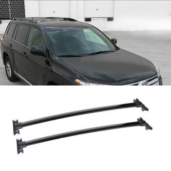 クロスバー For Toyota 08-13 Highlander Black Roof Top Cross Bar Luggage Rail Rack Carrier トヨタ8月13日ハイランダーブラックルーフトップクロスバー荷物レールラックキャリアについて
