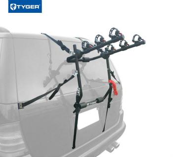 サイクルキャリア TYGER Deluxe 3-Bike Trunk Mount Black Carrier Rack Fits Sedan/Hatchback/SUV/Van タイガーデラックス3バイクトランクマウントブラックキャリアラックは、セダン/ハッチバック/ SUV /バンに適合します
