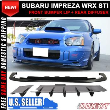 スバル インプレッサ エアロ Fit For 04-05 Subaru Impreza WRX STI Front Bumper Lip PP + Rear Diffuser 2PC ABS 04-05スバルインプレッサWRX STIフロントバンパーリップPP +リヤディフューザー2PC ABSのための適合