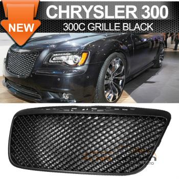 Chrysler 300 300C B Style Black グリル 11-14 Chrysler 300 300C B Style Black Front Hood Upper Grill Mesh Grille 11-14クライスラー300 300C Bスタイルブラックフロントフードアッパーグリルメッシュグリル