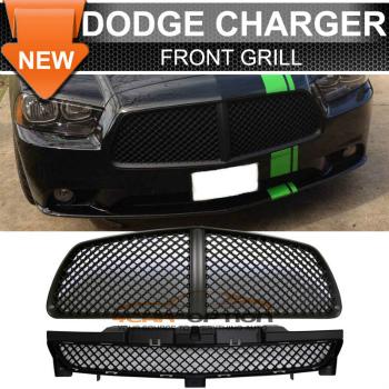 Dodge Charger B Style Black グリル 11-14 Dodge Charger B Style Black Front Upper + Lower Grill Grille -ABS 11-14ダッジチャージャーBスタイルブラックフロントアッパー+下部グリルグリル-abs
