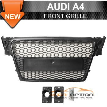 Audi A4 B8 グリル 09 10 Audi A4 B8 Front ABS Mesh Hood Grille Grill Black 09 10アウディA4 B8フロントABSメッシュフードグリルグリルブラック