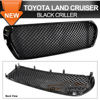 Toyota Land Cruiser グリル Toyota Land Cruiser 08-09 Black Front Upper Hood Mesh Grille Grill トヨタランドクルーザー08-09ブラックフロントアッパーフードメッシュグリルグリル