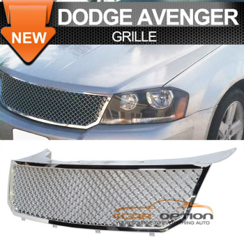 Dodge Avenger B Style グリル 07-10 Dodge Avenger B Style Front Chrome Mesh Grille 07-10ダッジ・アベンジャーBスタイルフロントクロームメッシュグリル
