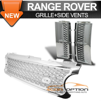 Land Range Range Rover L322 グリル 06-09 Land Range Rover Hse L322 Front Chrome Frame Silver Mesh Grille Side Vent 06-09ランドレンジローバーHSE L322フロントクロームフレームシルバーメッシュグリルサイドベント